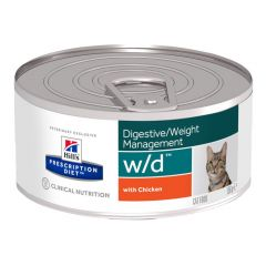 Hills Prescription Diet w/d Digestive/Weight Management Cat Food Wet with Chicken 24x156g Can