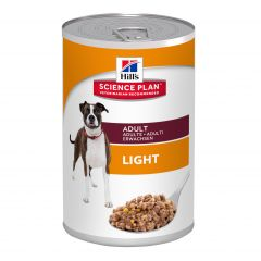 Hills Science Plan Adult Light Dog Food Wet with Chicken 12x370g Can