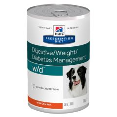 Hills Prescription Diet w/d Digestive/Weight/Diabetes Management Dog Food Wet 12x370g Can