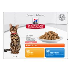 Hills Science Plan Feline Adult Light Favourite Selection Multipack 12x85g Wet Pouches