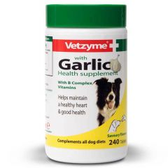 Vetzyme Garlic Tablets for Dogs - 240 Tablets