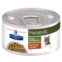 Hills Prescription Diet Metabolic Weight Management Stew Flavoured with Chicken & Vegetables Cat Food 24x82g Can