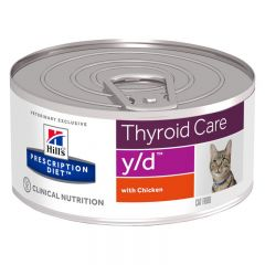 Hills Prescription Diet y/d Thyroid Care Cat Food Wet with Chicken 24x156g Can