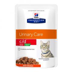 Hills Prescription Diet c/d Urinary Care - Urinary Stress Reduced Calorie Cat Food Wet 12x85g Pouch