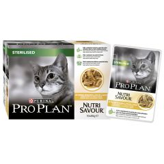 Purina Pro Plan Sterilised Cat Nutri Savour with Chicken in Gravy 10x85g Pouches