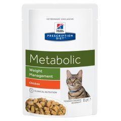 Hills Prescription Diet Metabolic - Weight Management Cat Food Wet with Chicken 12x85g Pouch