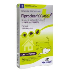 Fiproclear Combo Spot On Solution for Cats & Ferrets- Pack of 3