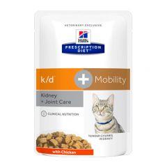 Hills Prescription Diet k/d + Mobility Cat Food Wet 12x85g Pouch