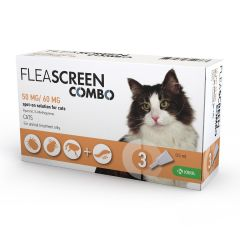 Fleascreen Combo 50mg/60mg Spot-on Solution for Cats - Pack of 3
